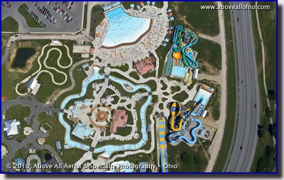 Overhead aerial view of Zoombezi Bay waterpark in Columbus, Ohio