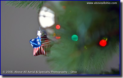 Patriotic Christmas tree star ornament