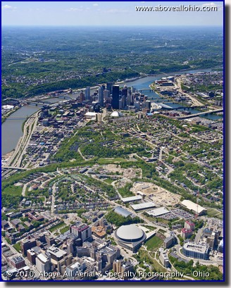 A portrait oriented aerial view of the University of Pittsburgh and downtown Pittsburgh, PA.