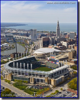 Aerial view of Progressive Field and Quicken Loans Arena in Cleveland, OH