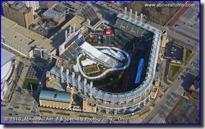 Aerial photograph of Progressive Field as set up for Snow Days; Cleveland, Ohio