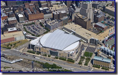 Aerial view of Quicken Loans Arena, home of the Cleveland Cavaliers