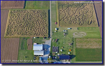 Aerial photo of the two huge corn mazes at Ramseyer Farms near Wooster, OH
