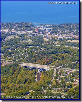 Aerial view of Rocky River, Ohio, looking out towards Lake Erie.