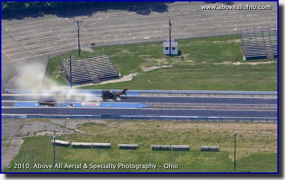 "An ""enhanced"" aerial view of a one-horsepower drag racer at Dragway 42 in West Salem, Ohio"