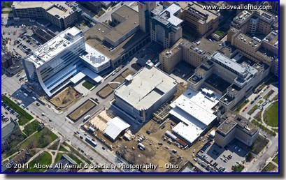 An aerial view of the new Seidman Cancer Center, part of University Hospitals, Cleveland, Ohio