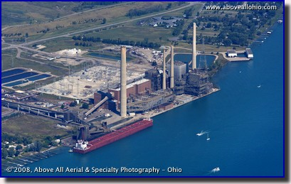 Aerial photo of a ship docked near Port Huron, Michigan