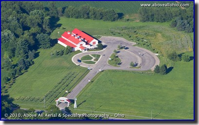 Aerial photograph of the J.M. Smucker Company Store and Cafe in Orrville, OH