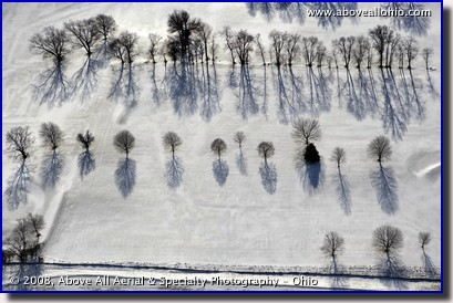 Aerial photograph of tree shadows on a snow covered golf course