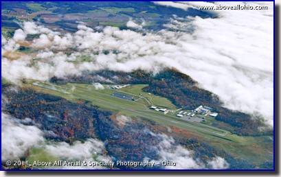 An aerial photo showing fog surrounding Richard Downing Field, Coshocton, Ohio.
