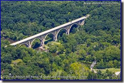 Aerial view of the Route 82 (also known as Chippewa Rd or Aurora Rd) bridge over the Cuyahoga Valley National Park.
