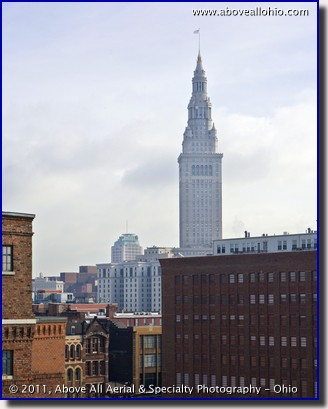Elevated view of the Terminal Tower in downtown Cleveland, OH
