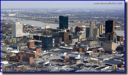 Aerial view of the downtown Toledo, Ohio, skyline