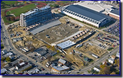 Aerial picture of the new University of Akron Zips stadium construction