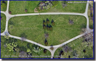 Overhead view of a Veterans cemetery at Green Lawn cemetery, Columbus, Ohio