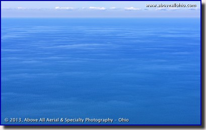 An aerial view of water as far as we could see - Lake Erie, near Cleveland, OH.