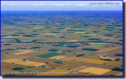 A wide angle aerial view of western Ohio, where the flat land is great for farming.