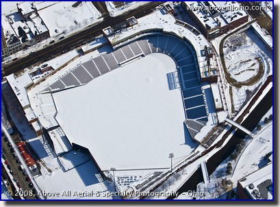 Canal Place baseball stadium in Akron, OH, in the winter
