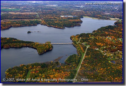 Aerial photograph of Meander Creek Reservoir showing lots of fall foliage; near Youngstown, Ohio