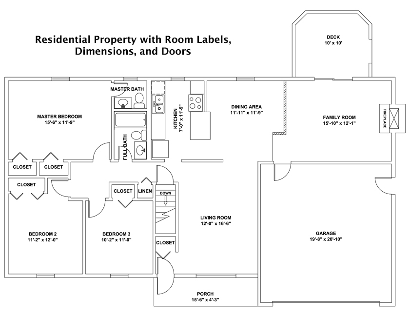 Residential Property sample with room labels dimensions and doors swings   Custom drawn CAD floor plans. Floor Plan Sample With Dimensions